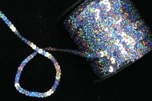 Sequin On String, Dark Silver Spotlight, 6MM x 100 Yards (1 Spool) SALE ITEM