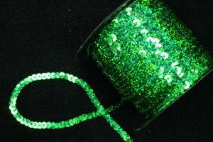 Sequin Trim On String, Emerald Spotlight, 6MM x 100 Yards (1 Spool) SALE ITEM