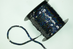 Sequin Trim On String, Black Spotlight, 6MM x 100 Yards (1 Spool) SALE ITEM