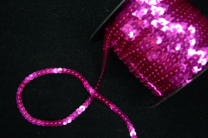 Sequin Trim On String, Fuchsia , 6MM x 100 Yards (1 Spool) SALE ITEM