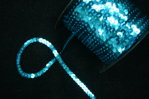 Sequin Trim On String, Aqua Blue , 6MM x 100 Yards (1 Spool) SALE ITEM