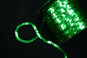 Sequin On String, Emerald , 6MM x 100 Yards (1 Spool) SALE ITEM
