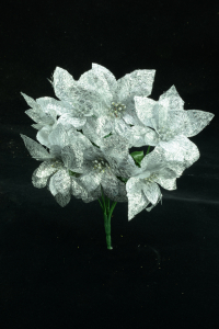 Silver Metallic Poinsettia Bush x 7 (lot of 24 bushes) SALE ITEM