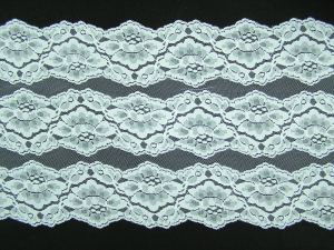 10.25 inch Flat Double Edge Galloon Lace, White (10 yard bolt) MADE IN USA