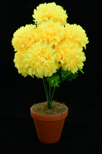 Yellow Carnation-Mum Bush x7  (Lot of 96) SALE ITEM