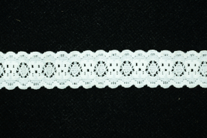0.875 inch Elastic Flat Lace, White (0.9 lbs) MADE IN USA