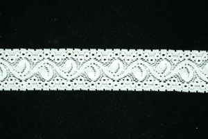 1.125 inch Elastic Flat Lace, Ivory (1.6 lbs) MADE IN USA
