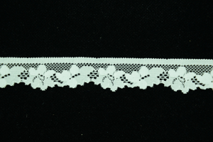 0.875 inch Elastic Flat Lace, Ivory (4.0 lbs) MADE IN USA