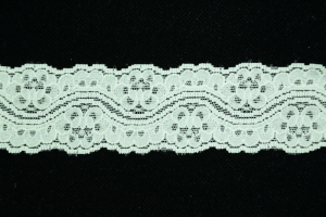 1.625 inch Elastic Flat Lace, Ivory (2.7 lbs) MADE IN USA
