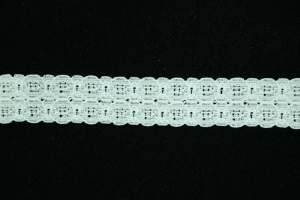 1 inch Elastic Flat Lace, Ivory (0.8 lbs) MADE IN USA