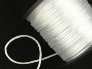 Round Satin Cord, White, 1.5mm x 76 Meters / 83.11 Yards (1 Spool) SALE ITEM