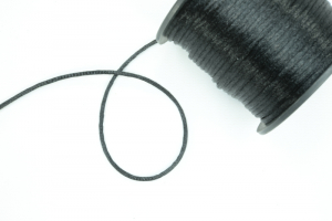 Round Satin Cord, Black, 1.5mm x 76 Meters / 83.11 Yards (1 Spool) SALE ITEM