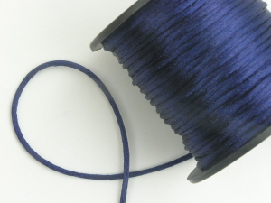 Round Satin Cord, Navy Blue, 1.5mm x 76 Meters / 83.11 Yards (1 Spool) SALE ITEM
