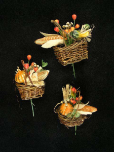Fall Basket Floral Pick, 3 assorted styles (lot of 24) SALE ITEM