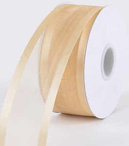 Organza Ribbon With Satin Edge , Ivory, 3/8 Inch x 25 Yards (1 Spool) SALE ITEM