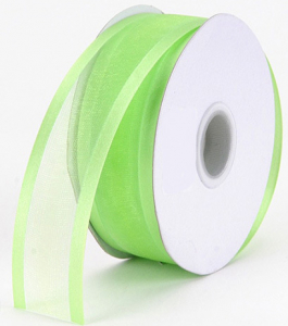Organza Ribbon With Satin Edge , Apple Green, 5/8 Inch x 25 Yards (1 Spool) SALE ITEM