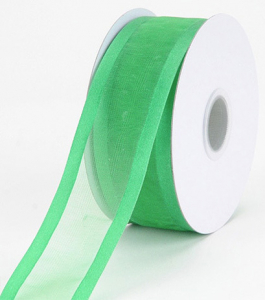 Organza Ribbon With Satin Edge , Emerald, 7/8 Inch x 25 Yards (1 Spool) SALE ITEM