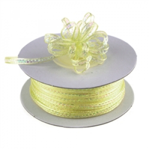 Pull Bow Ribbon , Lt. Yellow, 1/4 Inch x 50 Yards (1 Spool) SALE ITEM