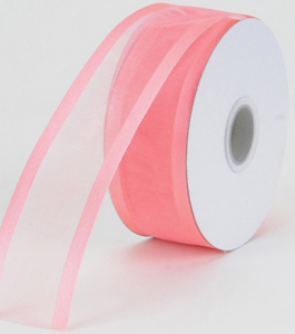 Organza Ribbon With Satin Edge , Coral, 1-1/2 Inch x 25 Yards (1 Spool) SALE ITEM