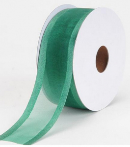 Organza Ribbon With Satin Edge , Hunter, 1-1/2 Inch x 25 Yards (1 Spool) SALE ITEM
