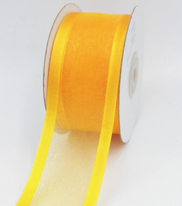 Organza Ribbon With Satin Edge , Light Gold, 1-1/2 Inch x 25 Yards (1 Spool) SALE ITEM