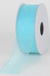 Organza Ribbon , Aqua, 5/8 Inch x 25 Yards (1 Spool) SALE ITEM