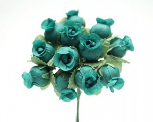 Miniature Silk Flower Rosebud, Hunter (lot of 12 bunches) SALE ITEM