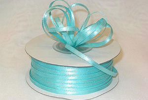 Double Faced Satin Ribbon , Aqua, 1/8 Inch x 100 Yards (1 Spool) SALE ITEM