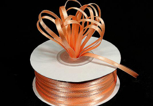 Double Faced Satin Ribbon , Peach, 1/16 Inch x 100 Yards (1 Spool) SALE ITEM