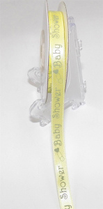"Printed "" baby"" Single Faced Satin Ribbon , Baby Maize/Mint, 3/8 Inch x 20 Yards (1 Spool) SALE ITEM"