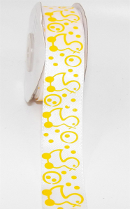 "Printed "" Baby Duckies With Bubbles "" Single Faced Satin Ribbon, White with Yellow Motif, 7/8 Inch x 25 Yards (1 Spool) SALE ITEM"