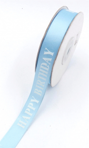 "Printed "" Happy Birthday "" Single Faced Satin Ribbon, Light Blue with Blue Bold Font, 5/8 Inch x 25 Yards (1 Spool) SALE ITEM"