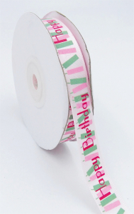 "Printed "" Happy Birthday "" Single Faced Satin Ribbon, Light Pink with Pink Fancy Bold Font and Pink/Green Candles, 5/8 Inch x 25 Yards (1 Spool) SALE ITEM"
