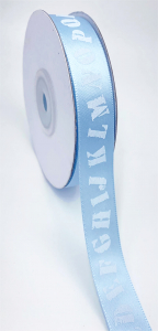 "Light Blue Satin Ribbon w/ Printed Alphabet Letters, 5/8"" x 25 Yards (1 Spool) SALE ITEM"