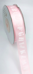 "Light Pink Satin Ribbon Printed with Alphabet Letters, 5/8"" x 25 Yards (1 Spool) SALE ITEM"