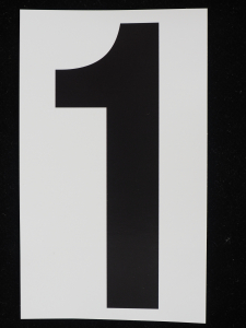 "Number ""1"" - 5 Inch Sticker Decal Vinyl Adhesive Address Numbers Black & White (lot of 1) SALE ITEM MADE IN USA"