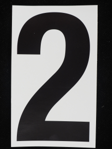 "Number ""2"" - 5 Inch Sticker Decal Vinyl Adhesive Address Numbers Black & White (lot of 1) SALE ITEM MADE IN USA"