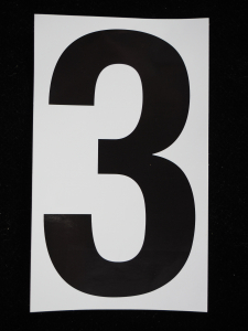 "Number ""3"" - 5 Inch Sticker Decal Vinyl Adhesive Address Numbers Black & White (lot of 1) SALE ITEM MADE IN USA"