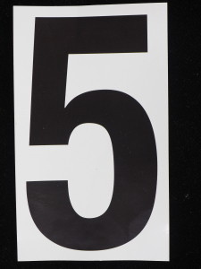 "Number ""5"" - 5 Inch Sticker Decal Vinyl Adhesive Address Numbers Black & White (lot of 1) SALE ITEM MADE IN USA"