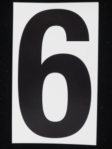 "Number ""6"" - 5 Inch Sticker Decal Vinyl Adhesive Address Numbers Black & White (lot of 1) SALE ITEM MADE IN USA"