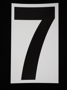 "Number ""7"" - 5 Inch Sticker Decal Vinyl Adhesive Address Numbers Black & White (lot of 1) SALE ITEM MADE IN USA"