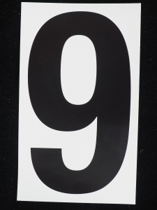"Number ""9"" - 5 Inch Sticker Decal Vinyl Adhesive Address Numbers Black & White (lot of 1) SALE ITEM MADE IN USA"