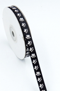 "Black Satin Ribbon Printed w/ White Paws, 3/8"" x 25 Yards (1 Spool) SALE ITEM"