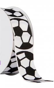 "Printed "" Soccer Balls "" Single Faced Grosgrain Ribbon, White with Black Bold Outlines, 7/8 Inch x 25 Yards (1 Spool) SALE ITEM"