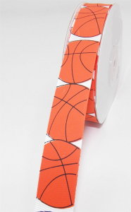 "Printed "" Basketball "" Single Faced White Satin Ribbon, Orange Basketballs With Black Outlines, 7/8 Inch x 25 Yards (1 Spool) SALE ITEM"