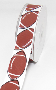 "Printed ""Football "" Single Faced Grosgrain Ribbon, White Footballs With Black and Brown, 1 1/2 Inch x 25 Yards (1 Spool) SALE ITEM"