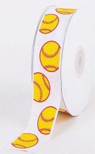 "Printed ""Baseball "" White Single Faced Grosgrain Ribbon, Yellow Baseballs With Red Outlines,  7/8 Inch x 25 Yards (1 Spool) SALE ITEM"