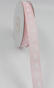 Pink/White Baby Feet Grosgrain 3/8 x 25 yds., (1 spool) SALE ITEM