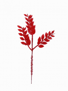 "9.5"" Artificial Plastic Ruscus Fern Pick x 3 - Red (lot of 12) SALE ITEM"