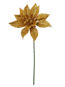 Gold Glittered Poinsettia Pick (lot of 12) SALE ITEM